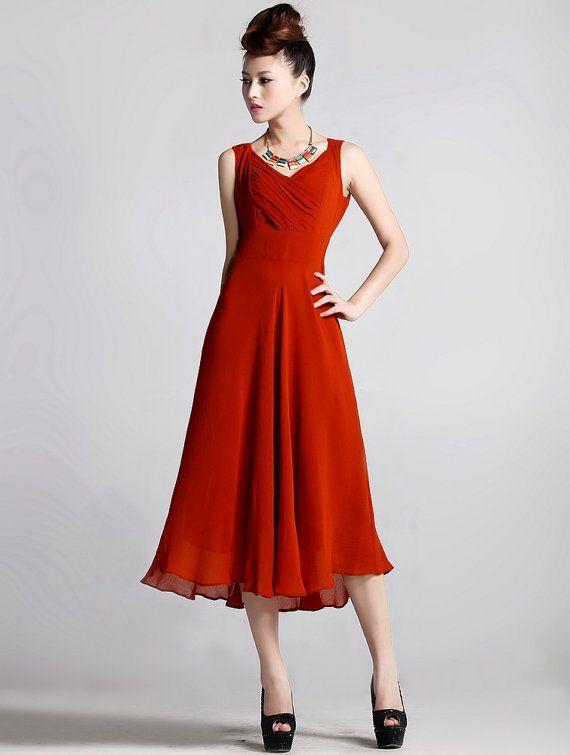 Spring summer chiffon long dress lady women clothing by handok, $94.00