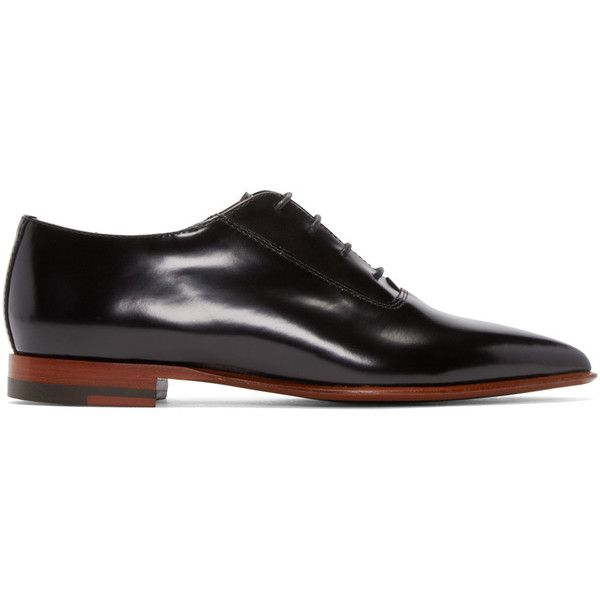 Acne Studios Black Martha Oxfords (22,345 PHP) ❤ liked on Polyvore featuring shoes, oxfords, black lace up shoes, black leather shoes, pointed toe shoes, leather sole shoes and black oxford shoes