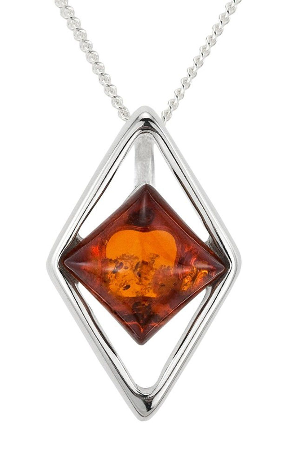 Ornami Sterling Silver Amber diamond shape pendant on 46cm curb BD0El30j7