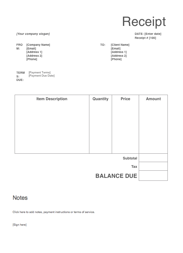Receipt Template Free To Download From Invoice Simple Receipt Template Free Receipt Template Invoice Template Word