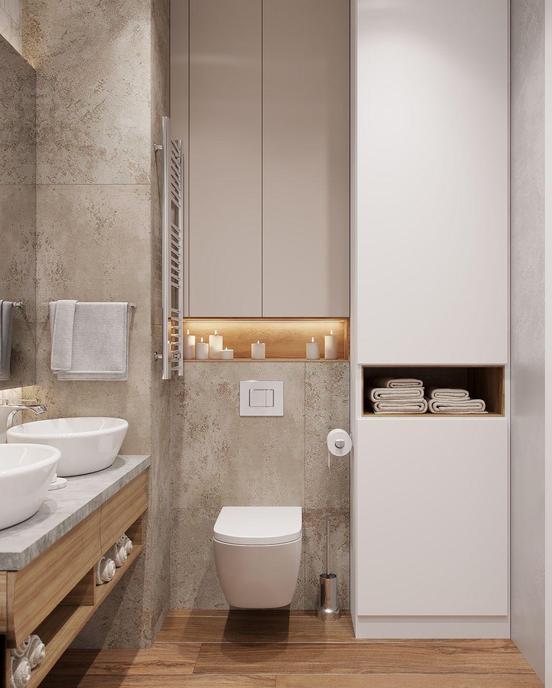 Badezimmer ideen bilder kleines aber helles badezimmer mit holzboden zwei waschbecken und