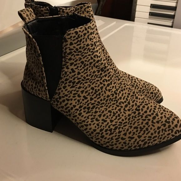 Cheetah print boots Cheetah print boots never worn Charlotte Russe Shoes Heeled Boots