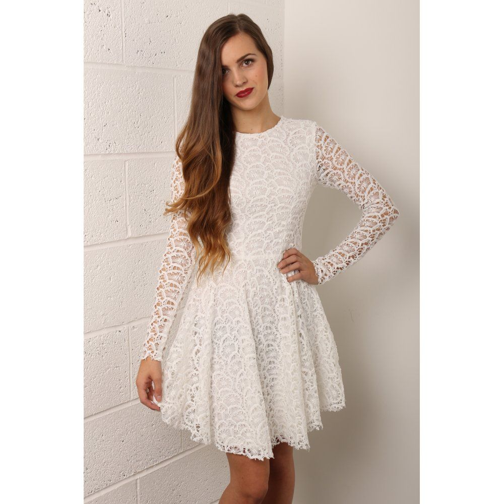 White lace dress with long sleeves