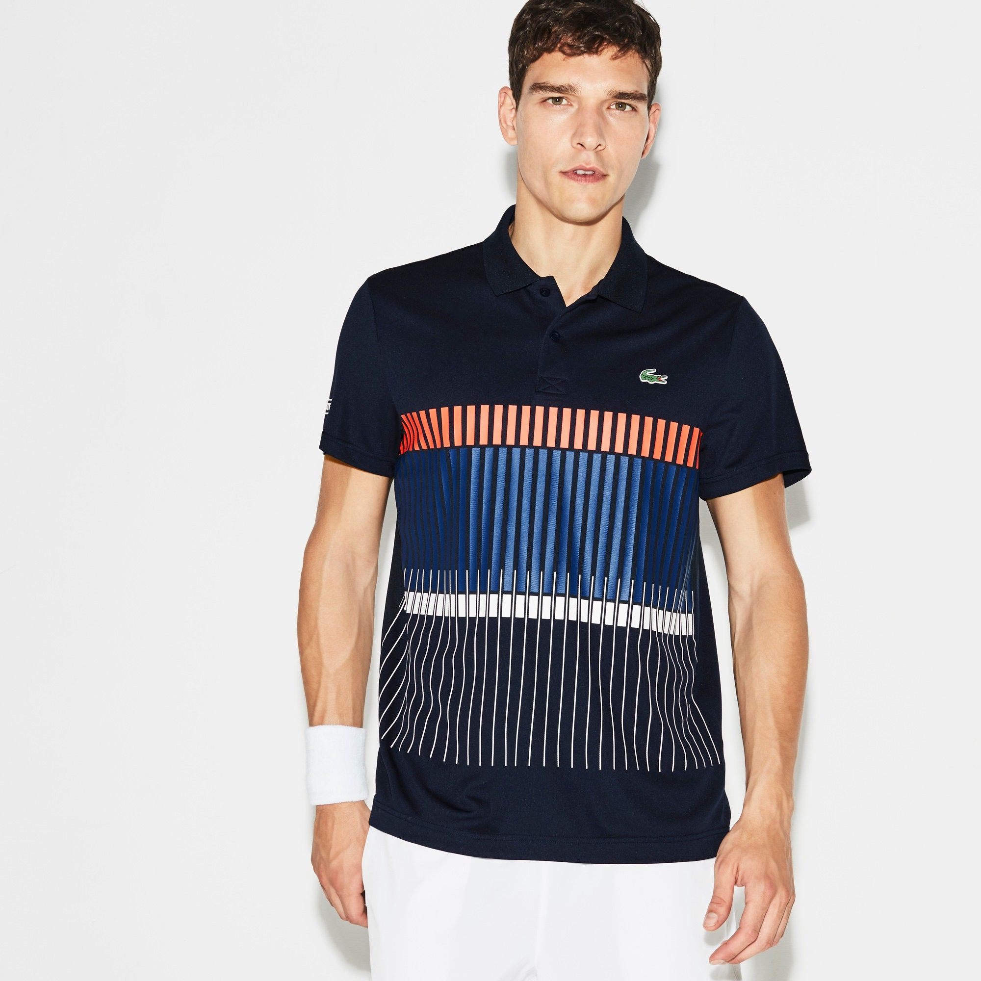 Lacoste Men S Polo X Novak Djokovic Exclusive Edition Navy Blue Mexico Red Ocea Modesens Lacoste Men Mens Outfits Lacoste