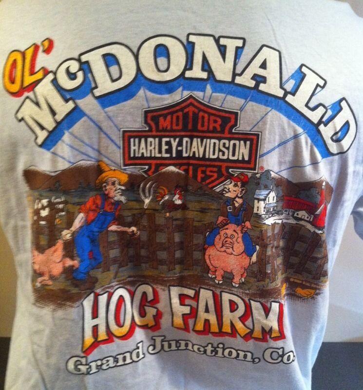 vintage 1980's old mcdonald hog farm colorado harley-davidson