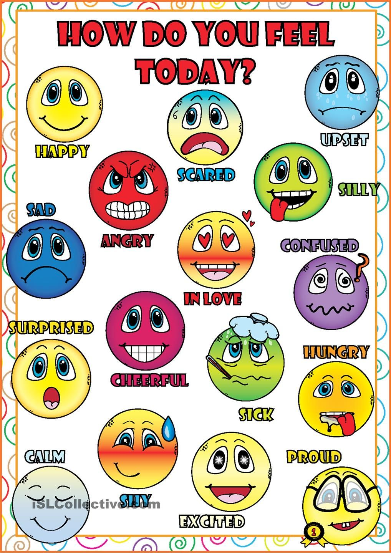Feelings and Emotions POSTER (com imagens) | Atividades em inglês ...