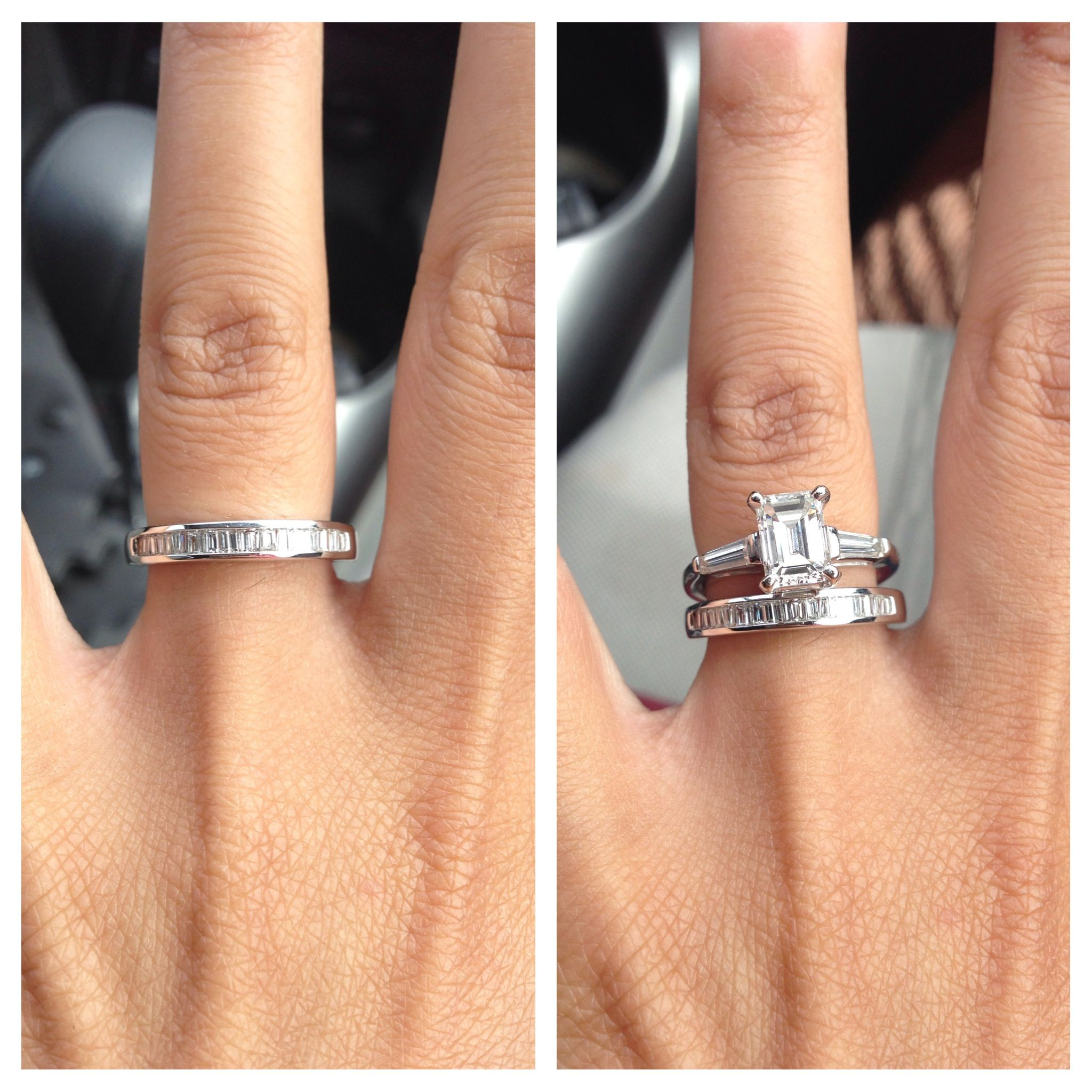 Baguette Wedding Band With Emerald Cut Ring Id Like