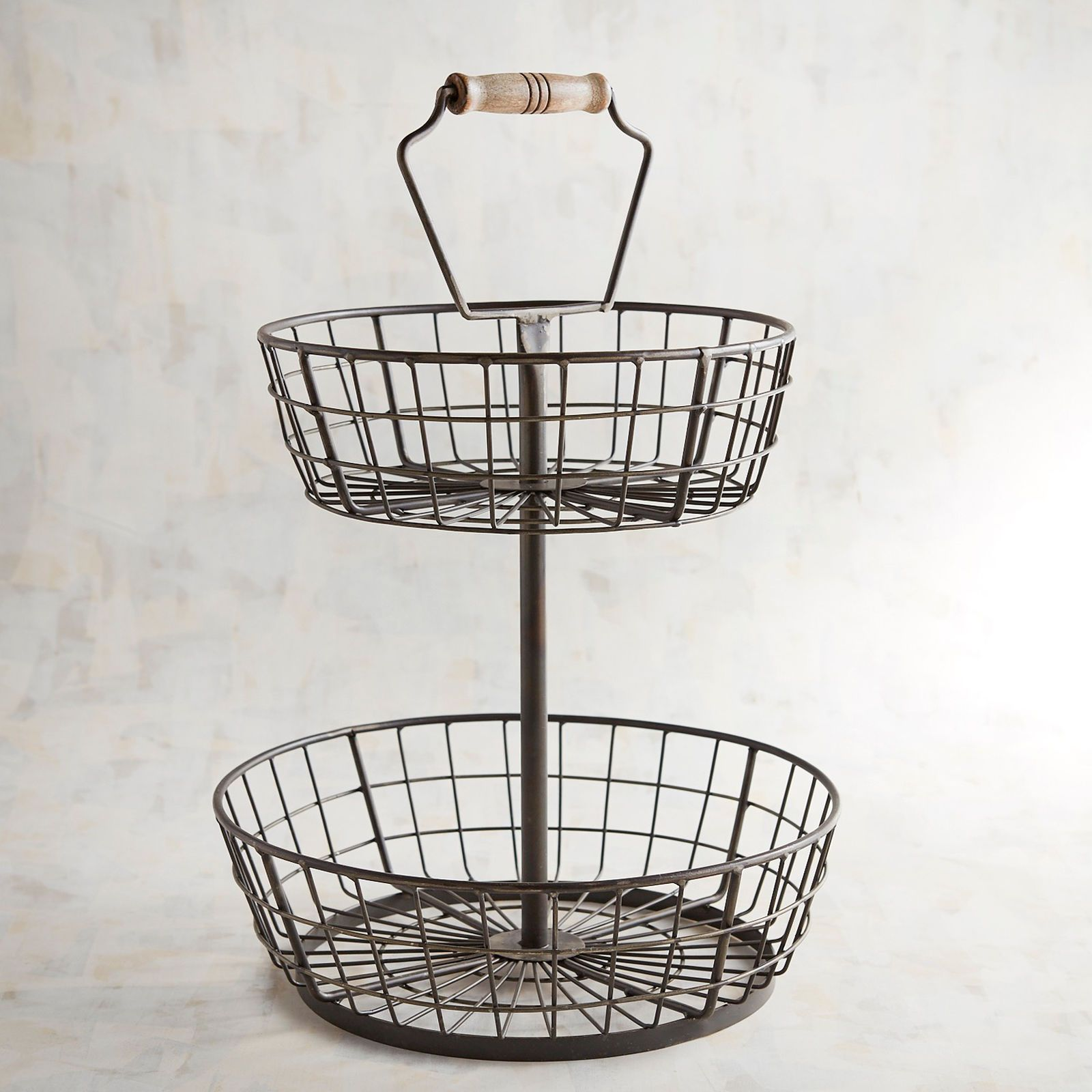 Black Wire 2 Tiered Basket Tiered Server Kitchen Style Farmhouse Style Kitchen