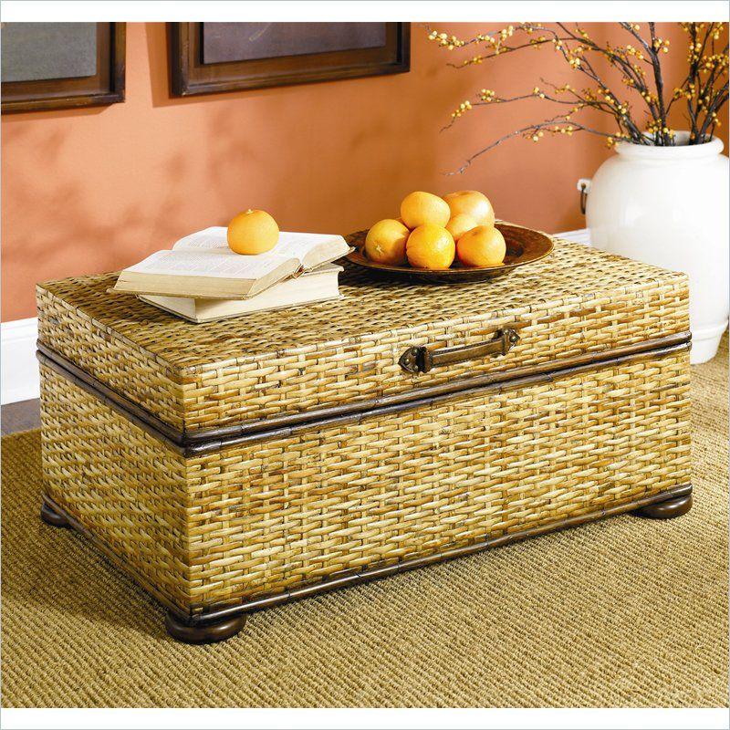 Hammary Hidden Treasures Woven Rattan Trunk Coffee Table