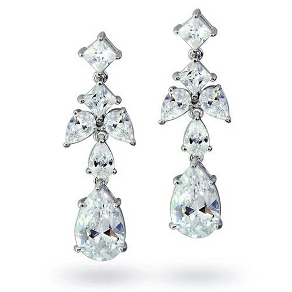 Bling Jewelry Pink Vintage Style CZ Drop Earrings Rhodium Plated Brass fLG6WOtoa