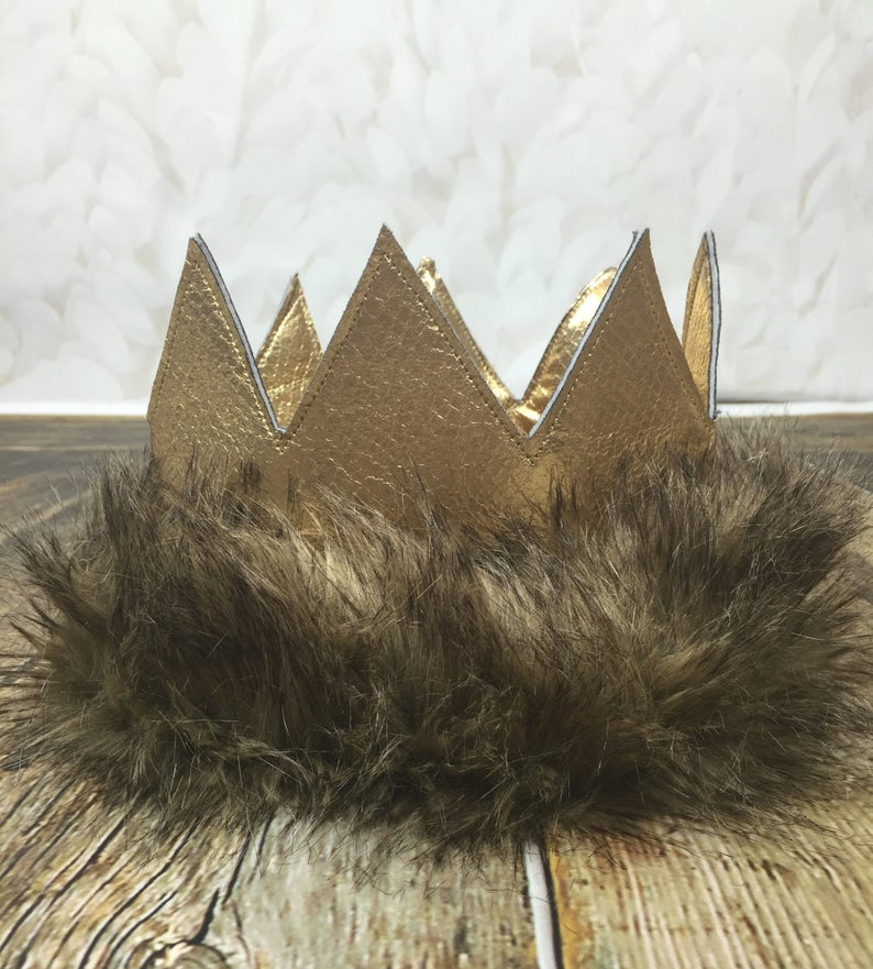Max Whwre The Wild Things Are Crown Etsy First Birthday Pictures Faux Fur Material Birthday Pictures