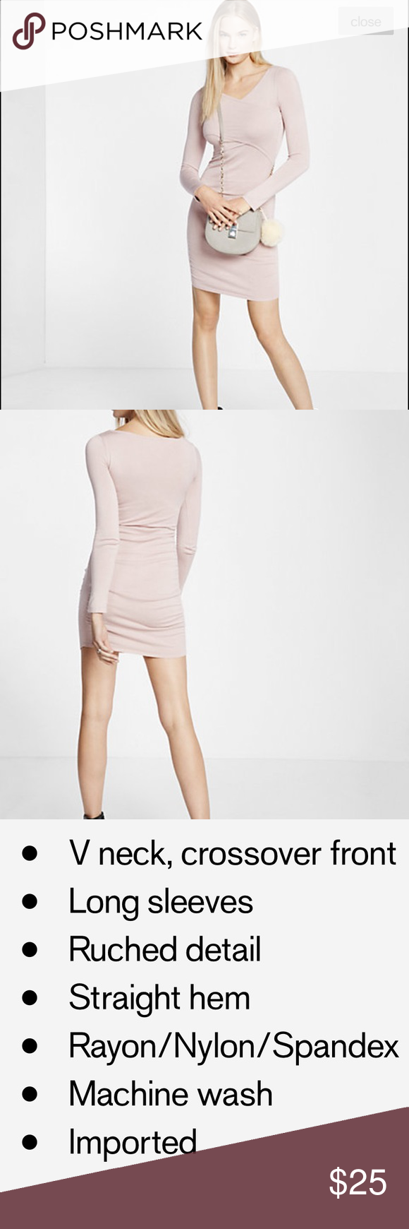 Express Cross Over Dress Pale pink NWT long sleeve sweater dress. Lightweight. Hits above the knee and I am 5'6. No TRADES but open to offers. Express Dresses Long Sleeve
