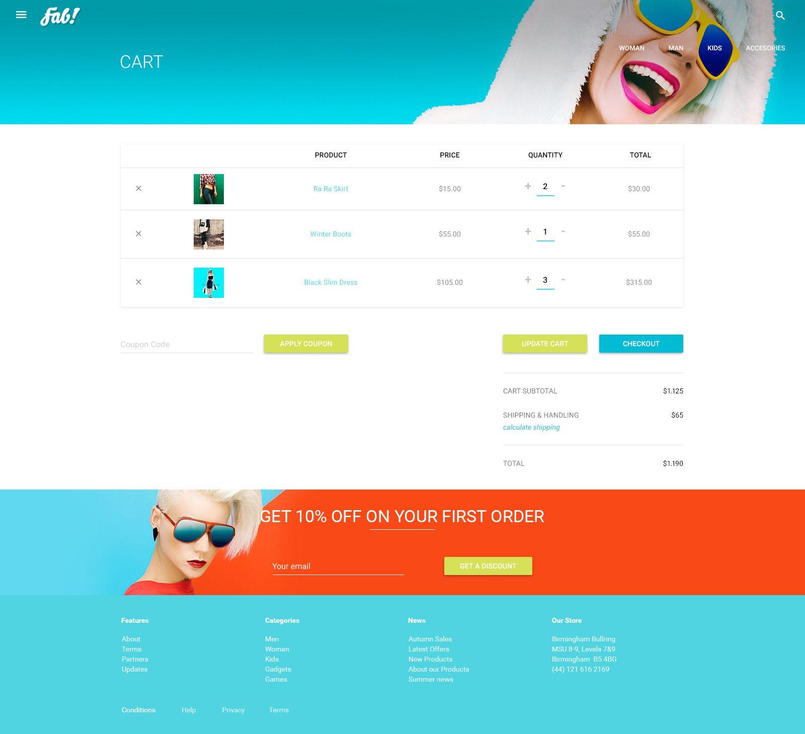 Fab Template: FAB! - Material Design Retail Shop PSD