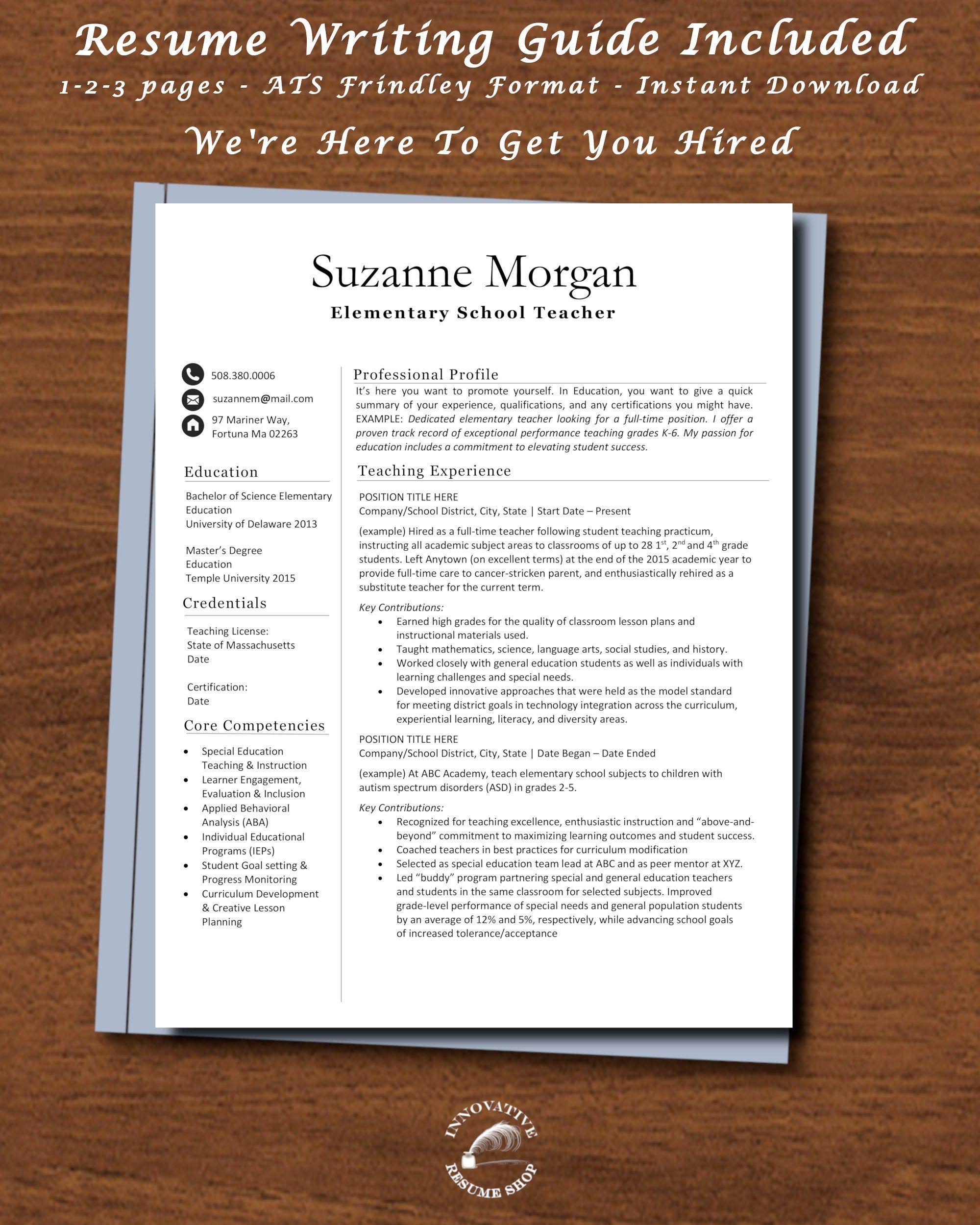 Elementary or preschool teacher resume template with