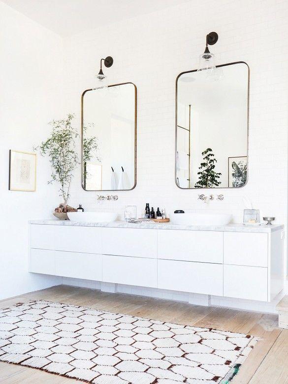 Meuble blanc sol bois décoration maison Pinterest Meuble blanc