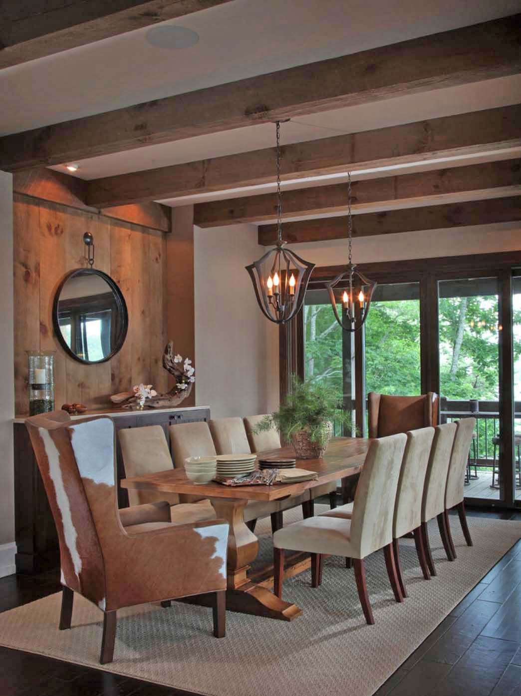 Modern rustic dining room table  Modernrustic lake house in Georgia Lake Bluff Lodge  Wood ceiling