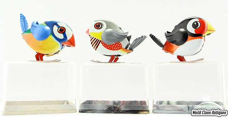 Vintage Lehmann Toy Wind-up Tin Birds, 1970s