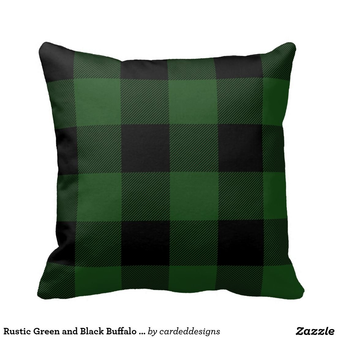 Rustic Green And Black Buffalo Check Plaid Throw Pillow Zazzle Com Plaid Throw Pillows Buffalo Plaid Decor Green Plaid Pillows