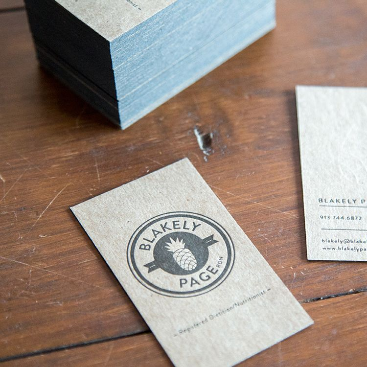 Business cards on 22pt chipboard with black edge painting and blind ...