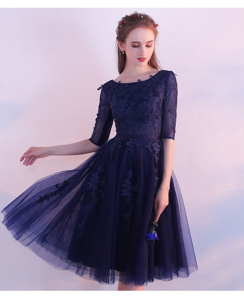 Aliexpress.com   Buy SSYFashion Elegant Short Lace Cocktail Dresses The Bride  Banquet Navy Blue 0deb3591bbe4