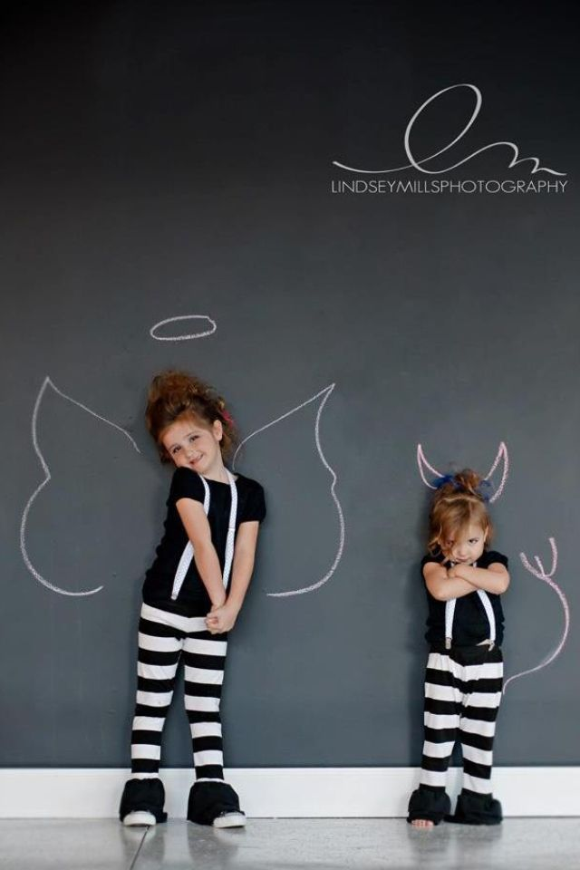 Rockstar Lindsey Mills Photography Stylized Shoot Child Photography Devil And Angel Naughty And Nice Christmas Card Sisters