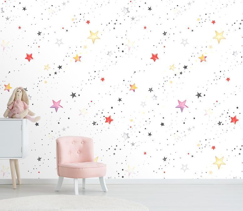 Color Star Painting P 0430 Mxy Wallpaper Colour Star Kids Room Wallpaper Star Painting