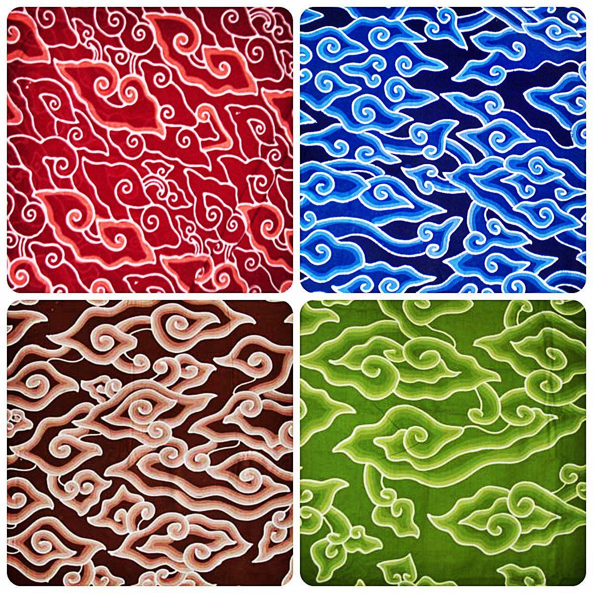 Mega Mendung Batik Cirebon Dengan Gambar Seni Bunga Desain