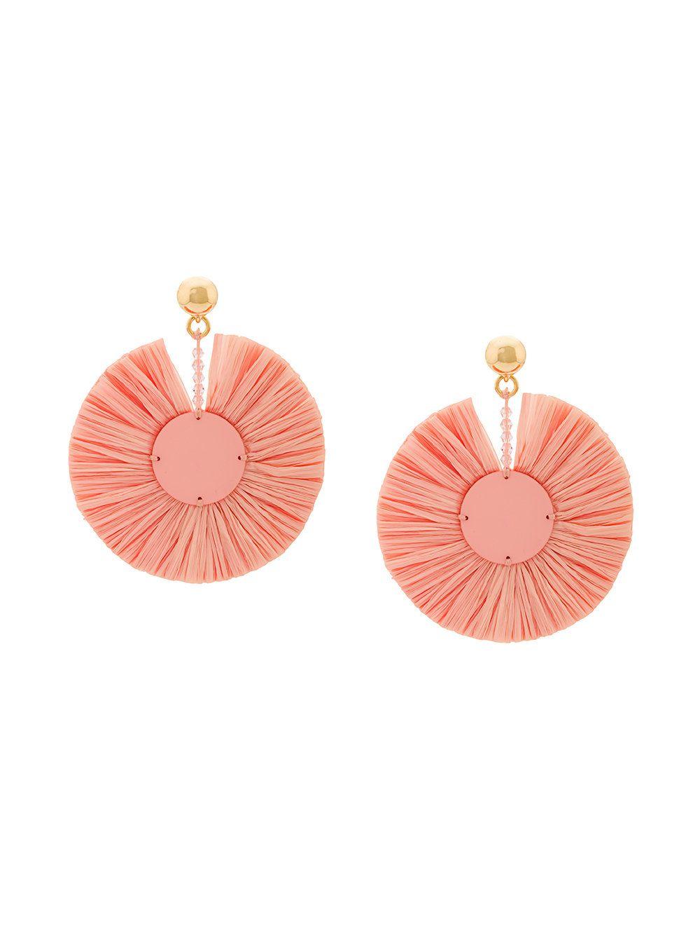 small raffia disk pierced earrings - Pink & Purple Oscar De La Renta VtsLRJBjc