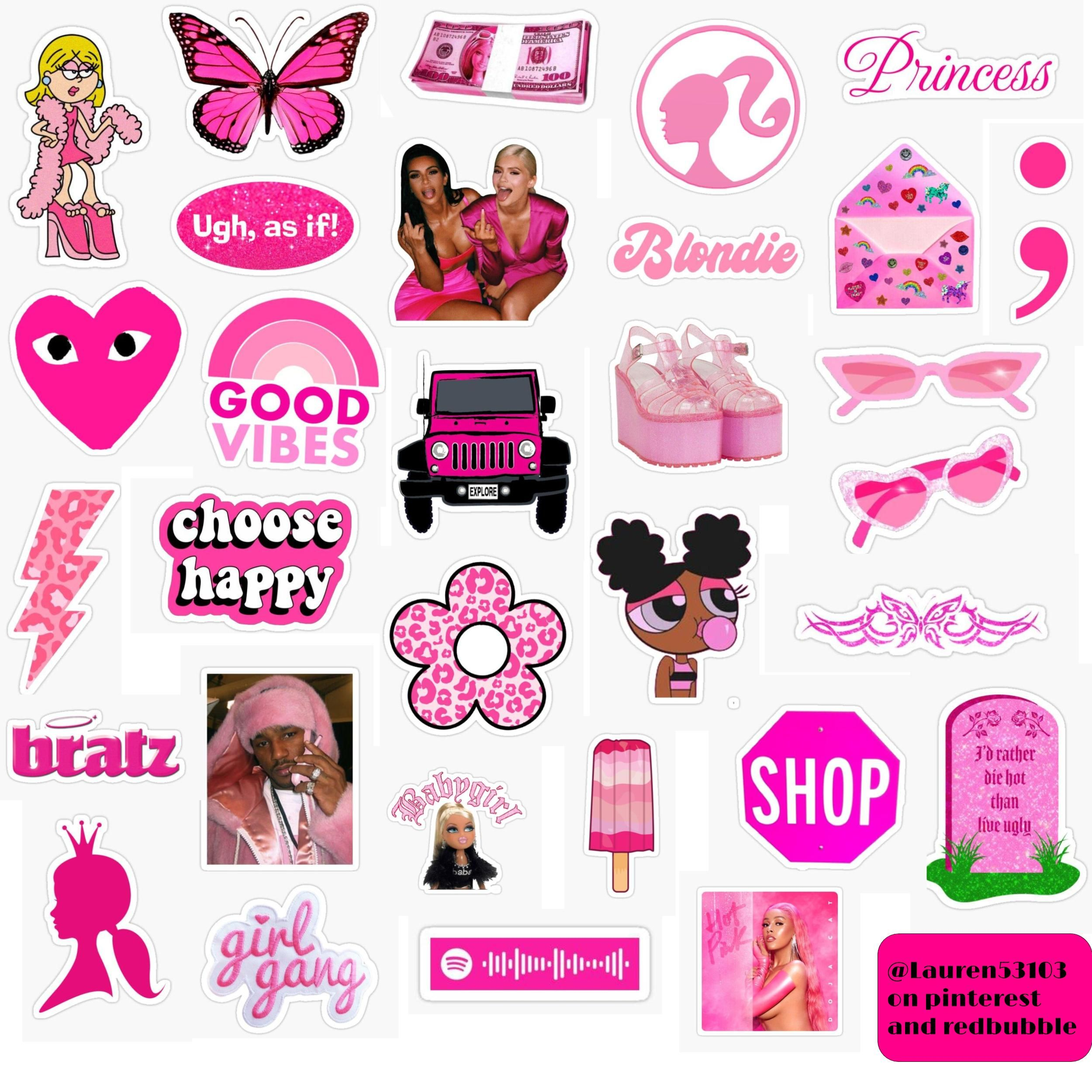 Trendy Pink Sticker Pack Sticker By Lauren53103 In 2020 Cute Stickers Print Stickers Aesthetic Stickers