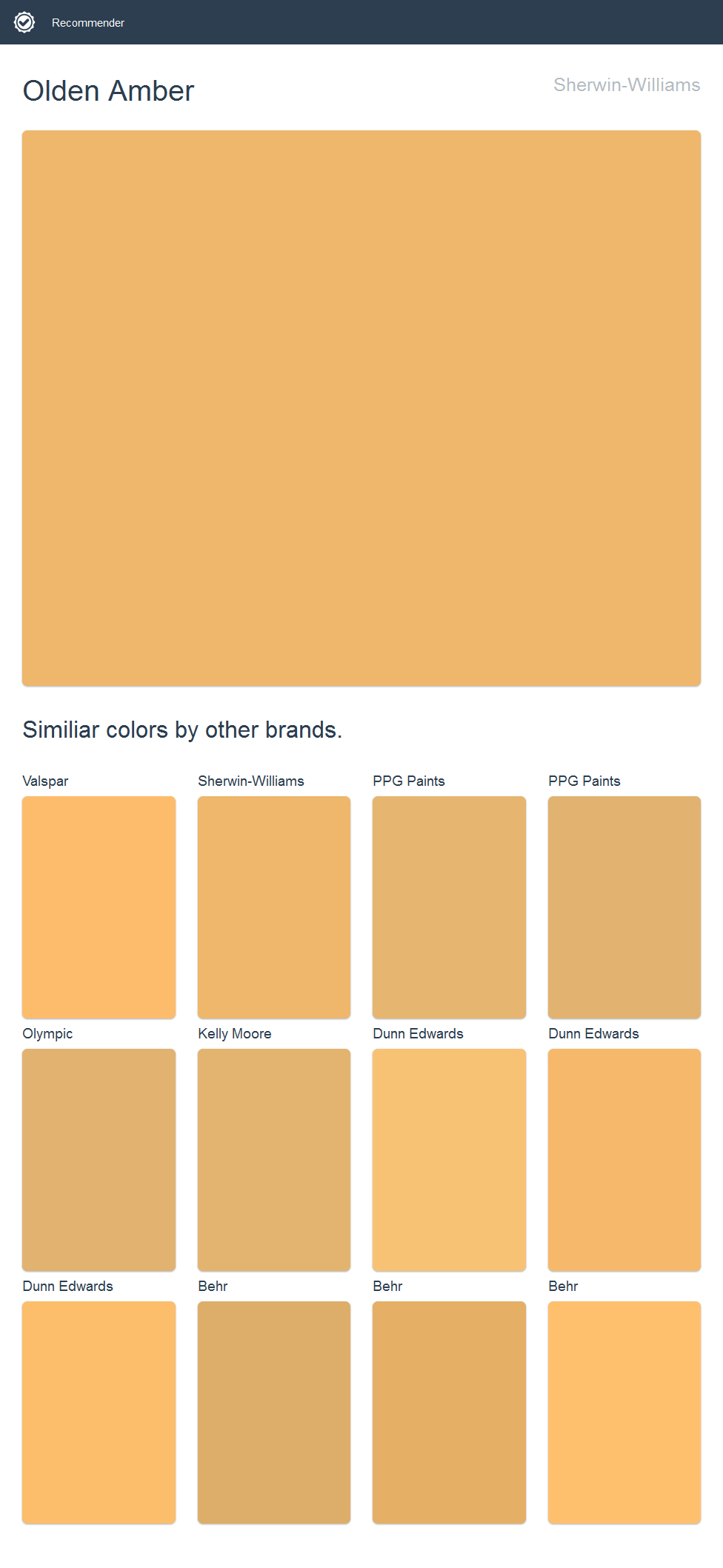 Olden Amber, Sherwin-Williams. | 2017 - Sherwin-Williams Paint ...