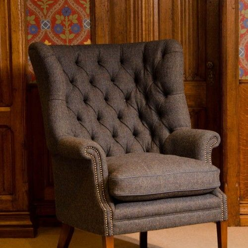 Harris Tweed Chair Classic Wing Chair Furniture Fabric Armchairs