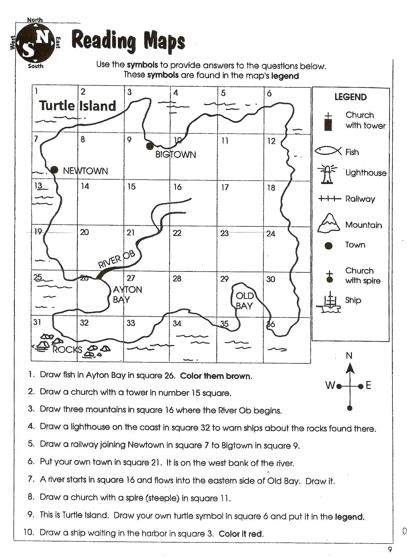 Map Skill Worksheets 2nd Grade