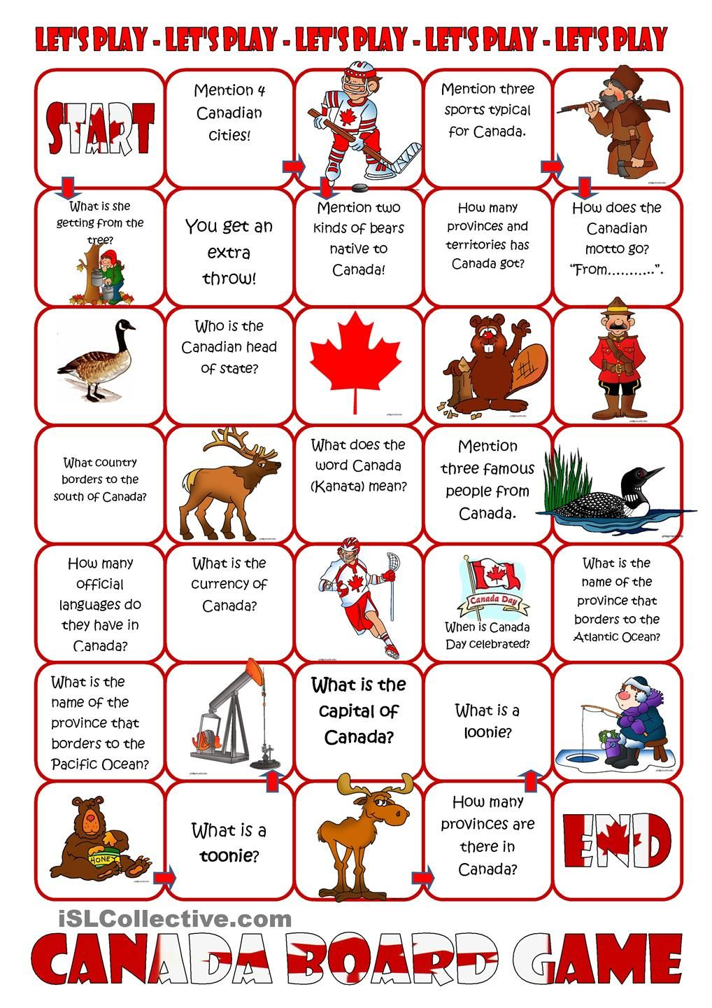small resolution of Canada Board Game   Canada for kids