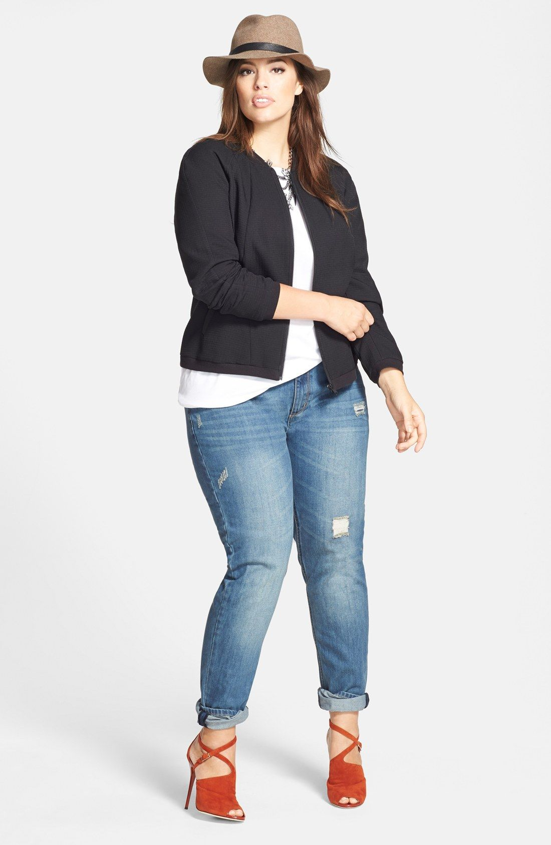 Sejour Bomber Jacket, Tee & City Chic Boyfriend Jeans (Plus Size ...