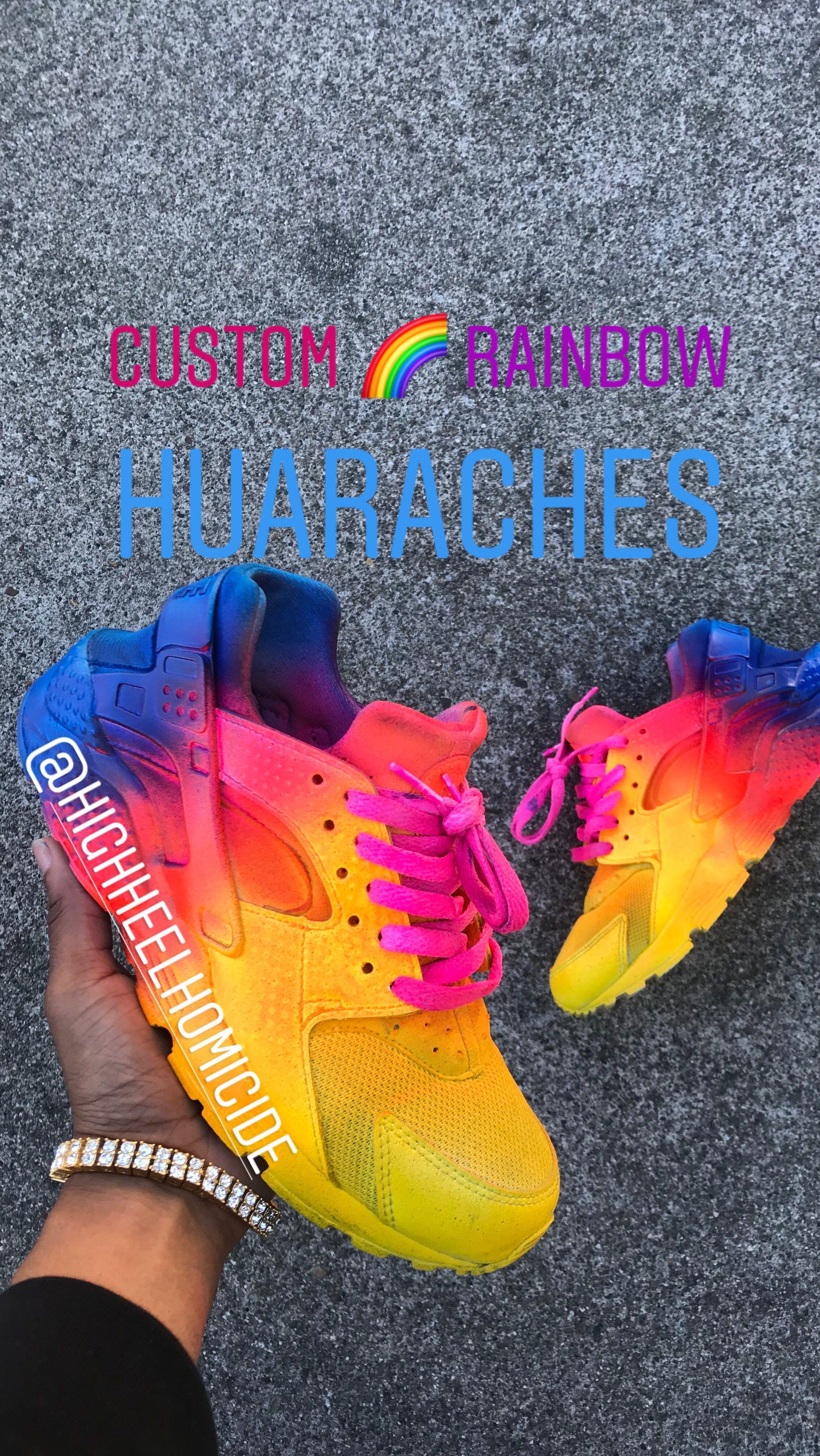 482d1fc670a54  custom  rainbow  huarache  customhuaraches  unicorn  nike  nikeair please  dm me on instagram