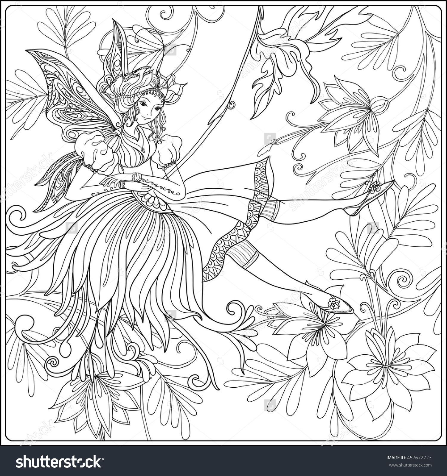 Fairy With Butterfly Wings On Swing On Medieval Floral Pattern ...