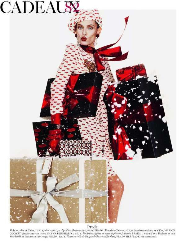 Gift-Wrapped Supermodels - The Vogue Paris Festive Gift Guide Features Two Top Models (GALLERY)
