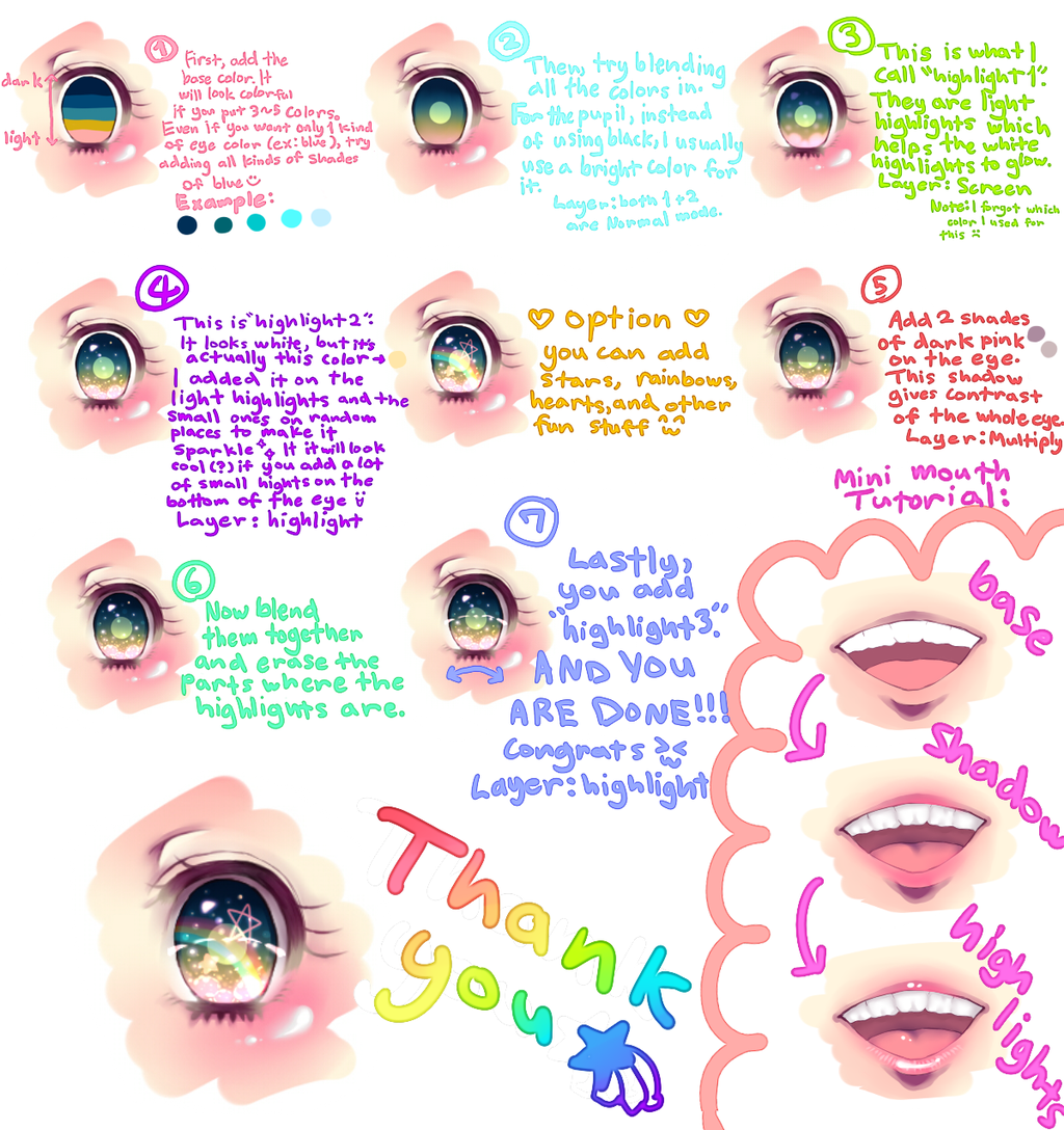 colorful, sparkly anime eye tutorial by aihimemiri.deviantart
