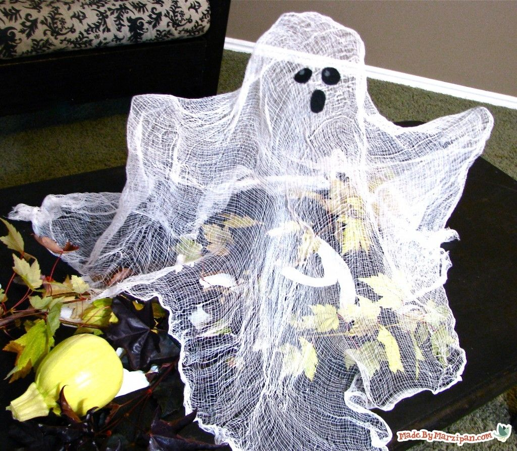 This spooky centerpiece will have your Halloween guests doing a doubletake! Tips:1) You'll need about a yard of cheesecloth. You can buy it in packages like this from the kitchenware section of the grocery store. I only used half of this package for this ghost. 2) You'll need some heavy spray starch. Plan to use …