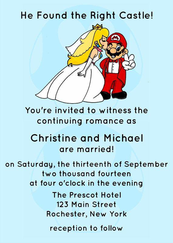 Video Game Wedding Invitation JPEG PRINTABLE by Spongeshoe on Etsy - fresh birthday invitation jokes