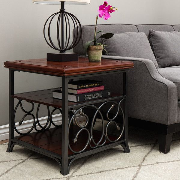 Scrolled Metal And Wood End Table 150 Liked On Polyvore Featuring Home