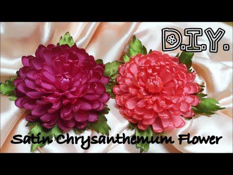 D I Y Satin Chrysanthemum Flower Tutorial Rate Comment Ribbon Flower Tutorial Fabric Flower Tutorial Flower Tutorial