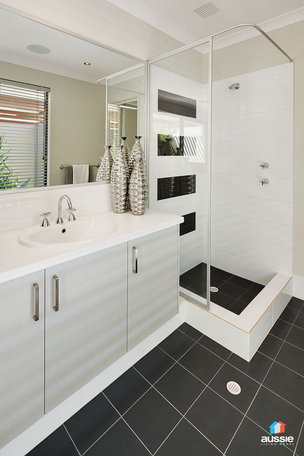 Bathroom Tiles Horizontal horizontal black feature tiling to ensuite - the pulse display