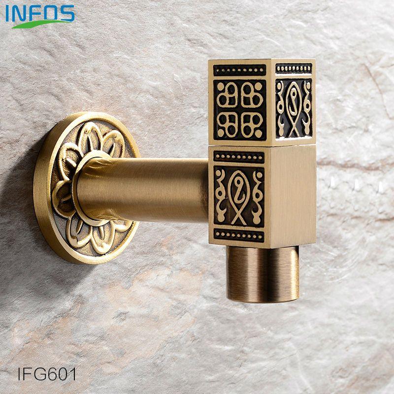INFOS Antique Brass Bronze Garden Long Faucet Decorative Outdoor ...