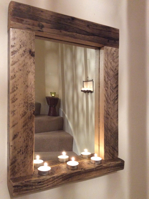 Wooden Wood Mirror With Shelf Handmade Reclaimed Wood Rustic Bathroom Mirrors Wood Mirror Reclaimed Wood Mirror