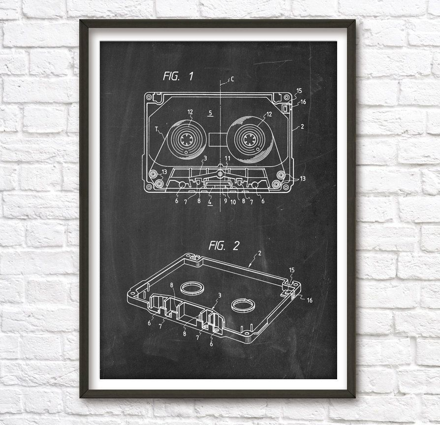 Audio Cassette Patent Wall Art Poster by PatentPosters on Etsy