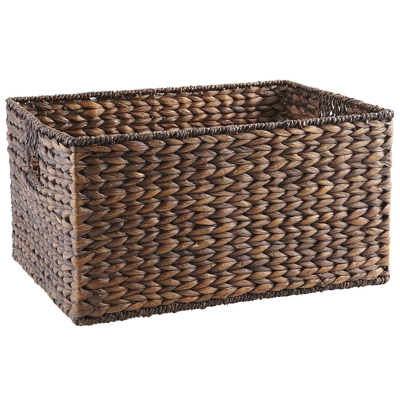 Home underbed storage baskets wicker underbed storage basket - Carson Espresso Wicker Large Shelf Storage Baskets Under Bed