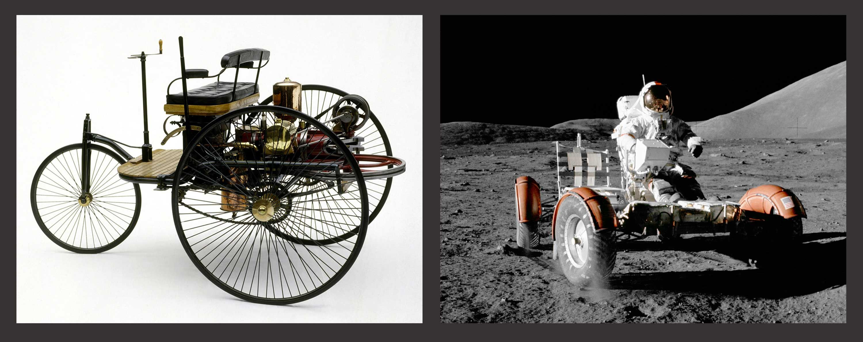 The Benz Patent-Motorwagen (1885) aka \'horseless buggy\'; 100 kg; 670 ...