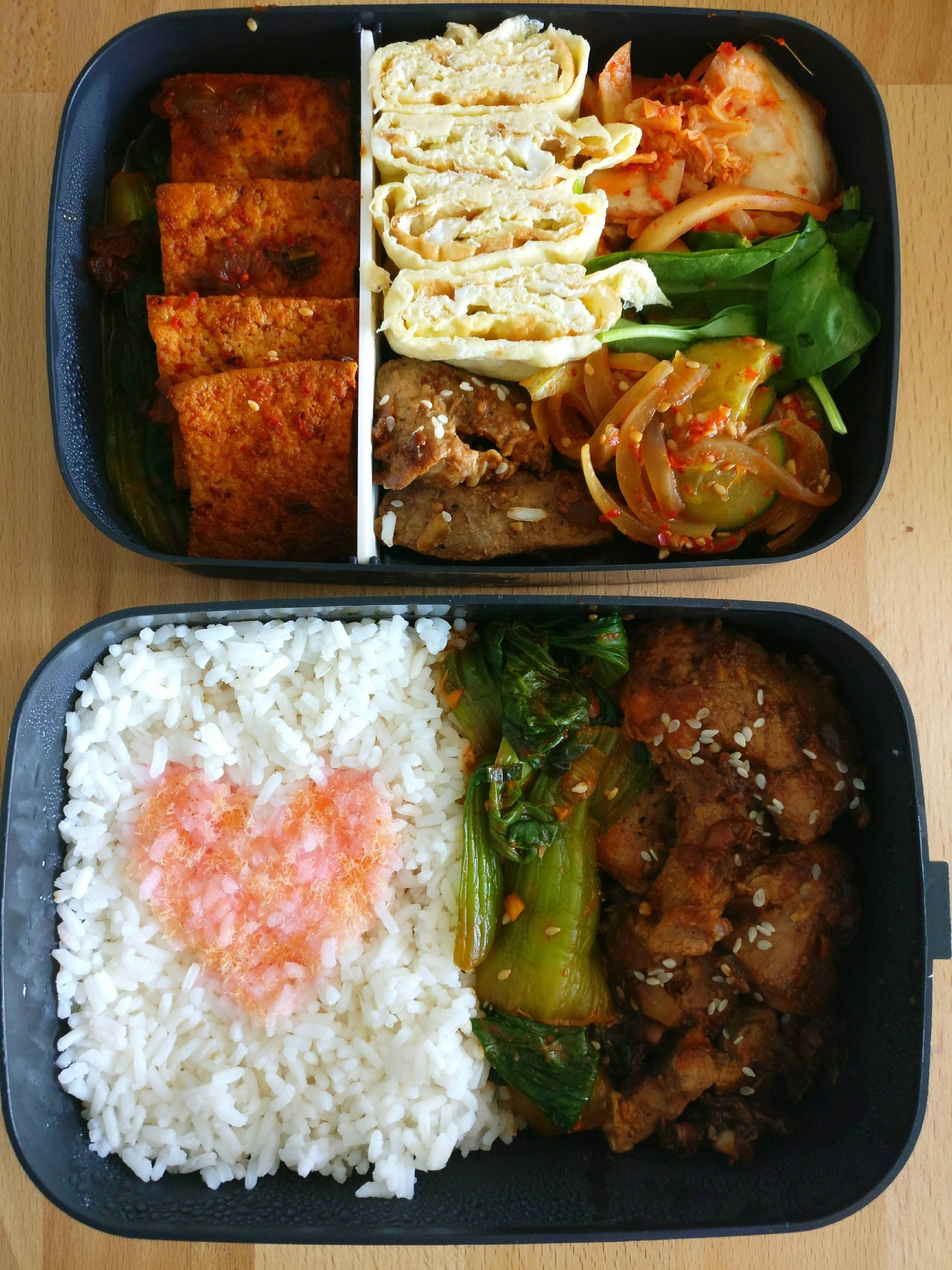 Korean bento made with tonights dinner recipe links in