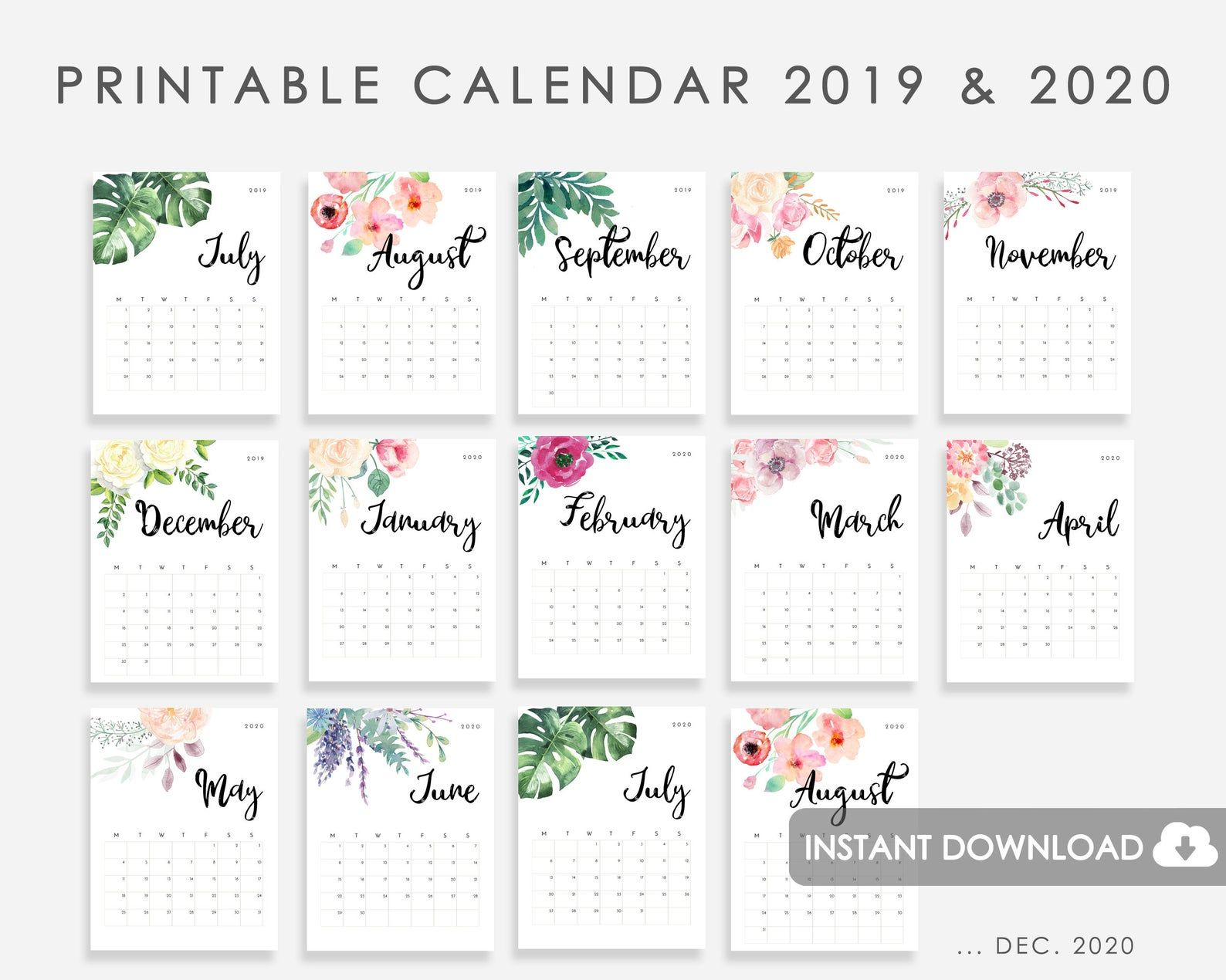 Calendar 2019 2020 Printable Calendar Watercolor Flowers 2019